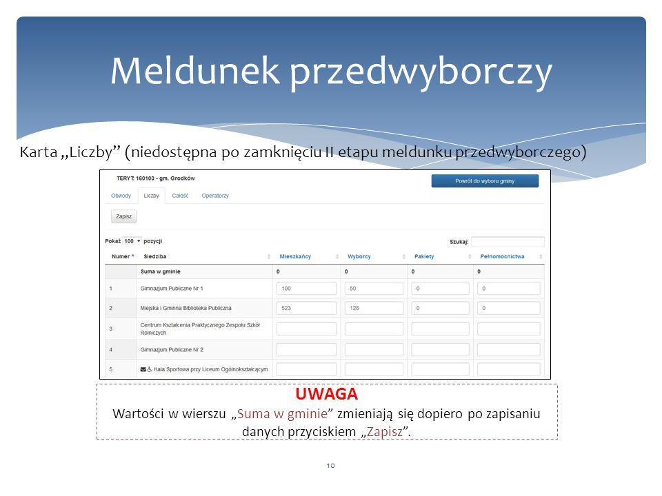 """10 Meldunek przedwyborczy Karta """"Liczby (niedostępna po zamknięciu II etapu meldunku przedwyborczego) UWAGA Wartości w wierszu """"Suma w gminie zmieniają się dopiero po zapisaniu danych przyciskiem """"Zapisz ."""