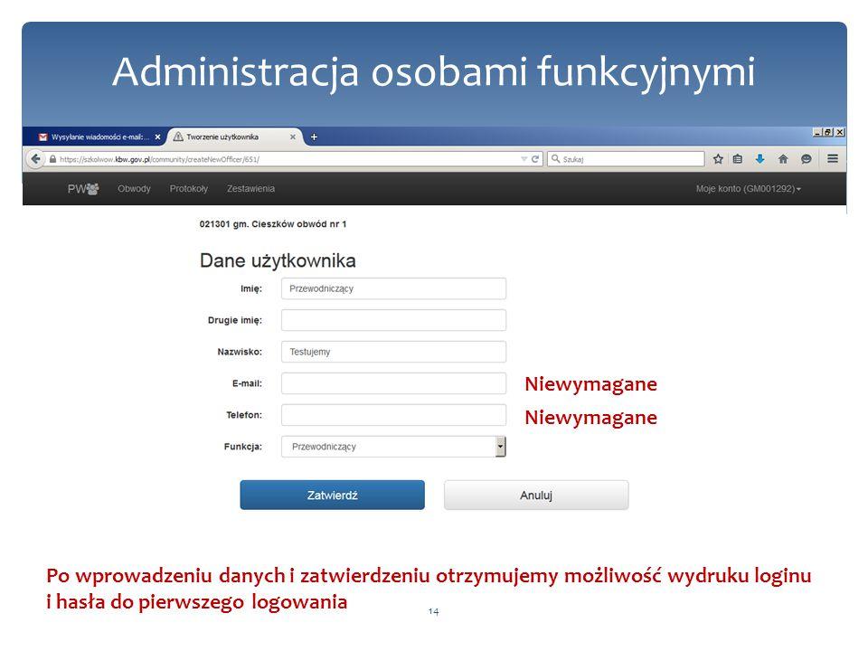 14 Niewymagane Po wprowadzeniu danych i zatwierdzeniu otrzymujemy możliwość wydruku loginu i hasła do pierwszego logowania Administracja osobami funkcyjnymi