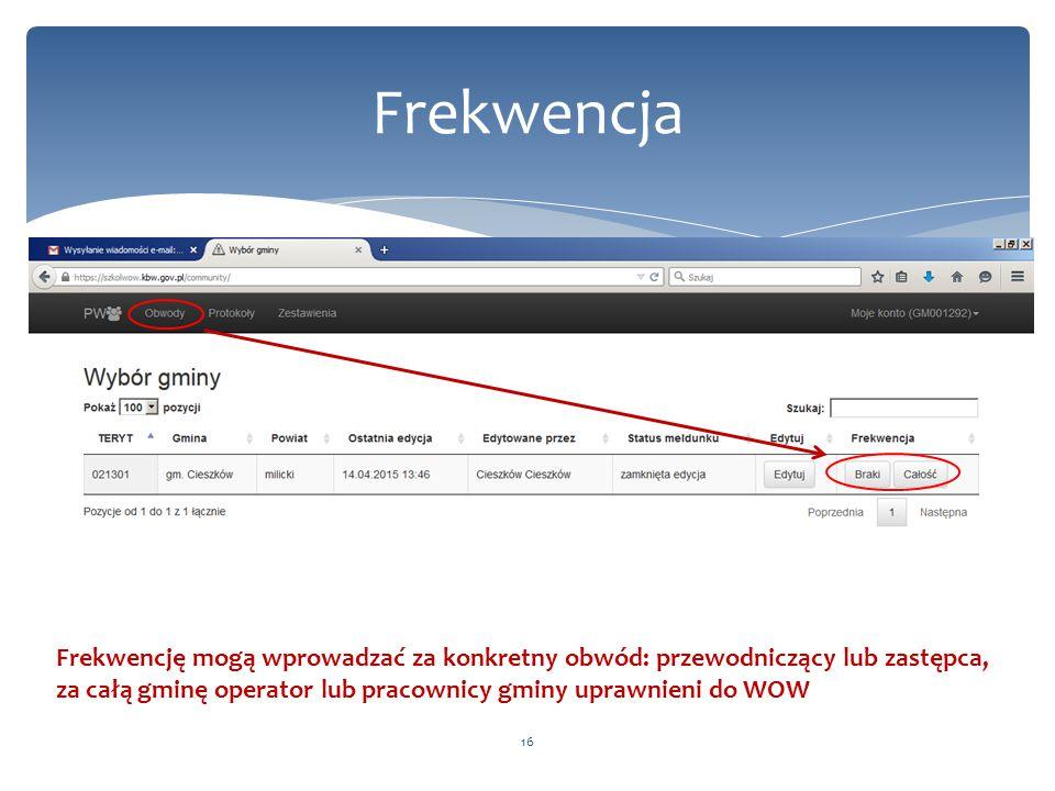 Frekwencja 16 Frekwencję mogą wprowadzać za konkretny obwód: przewodniczący lub zastępca, za całą gminę operator lub pracownicy gminy uprawnieni do WO