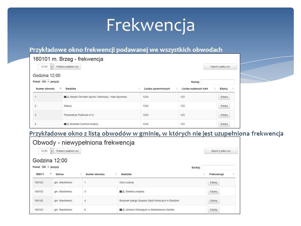 17 Frekwencja Przykładowe okno frekwencji podawanej we wszystkich obwodach Przykładowe okno z listą obwodów w gminie, w których nie jest uzupełniona f