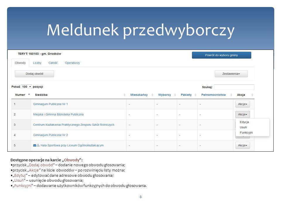 """8 Meldunek przedwyborczy Dostępne operacje na karcie """"Obwody"""": przycisk """"Dodaj obwód"""" – dodanie nowego obwodu głosowania; przycisk """"Akcje"""" na liście o"""