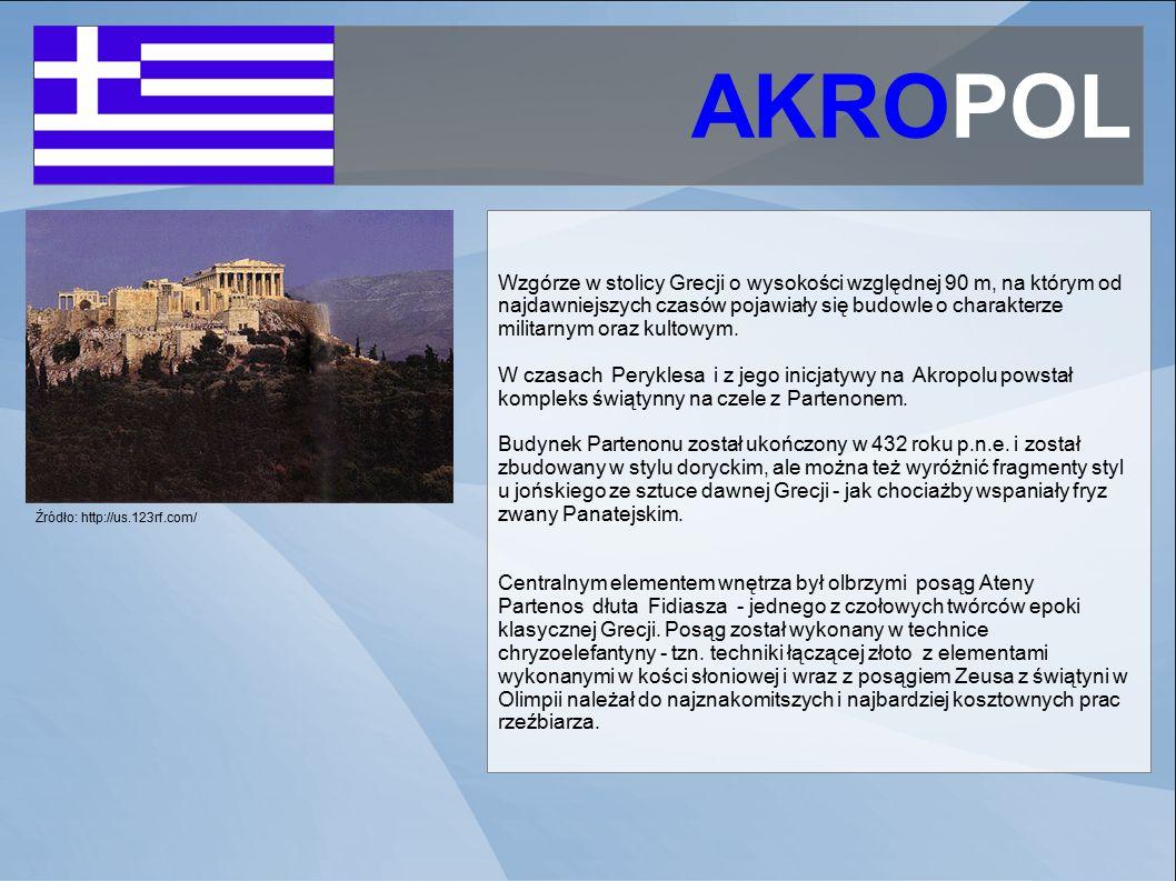 AKROPOL Źródło: http://us.123rf.com/ Wzgórze w stolicy Grecji o wysokości względnej 90 m, na którym od najdawniejszych czasów pojawiały się budowle o charakterze militarnym oraz kultowym.