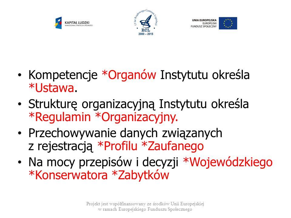 Kompetencje *Organów Instytutu określa *Ustawa. Strukturę organizacyjną Instytutu określa *Regulamin *Organizacyjny. Przechowywanie danych związanych