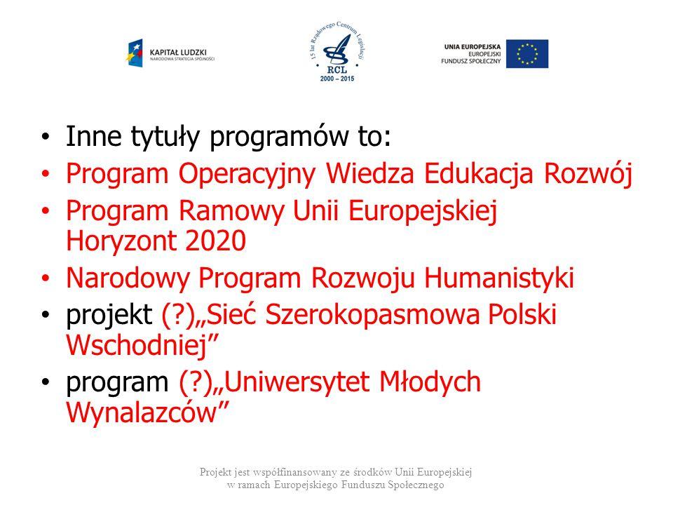 Inne tytuły programów to: Program Operacyjny Wiedza Edukacja Rozwój Program Ramowy Unii Europejskiej Horyzont 2020 Narodowy Program Rozwoju Humanistyk