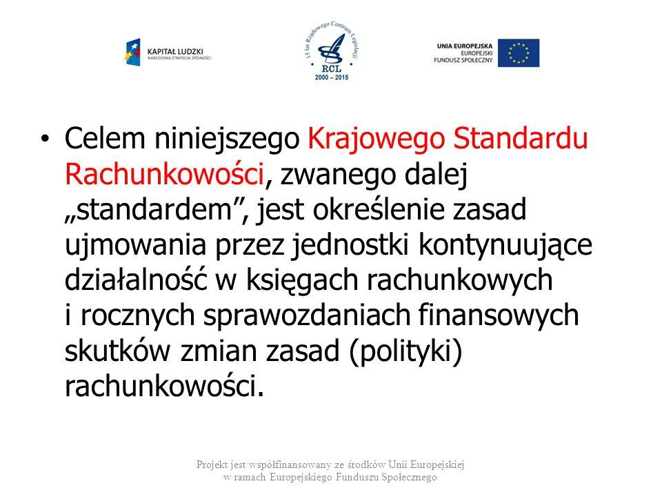 """Celem niniejszego Krajowego Standardu Rachunkowości, zwanego dalej """"standardem"""", jest określenie zasad ujmowania przez jednostki kontynuujące działaln"""