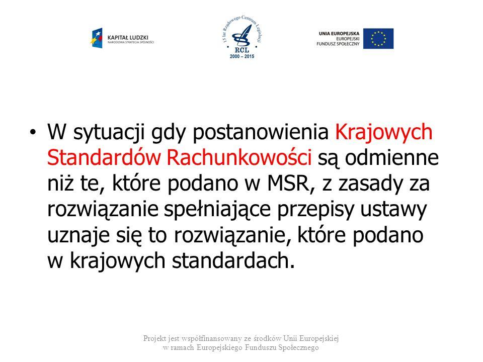 W sytuacji gdy postanowienia Krajowych Standardów Rachunkowości są odmienne niż te, które podano w MSR, z zasady za rozwiązanie spełniające przepisy u