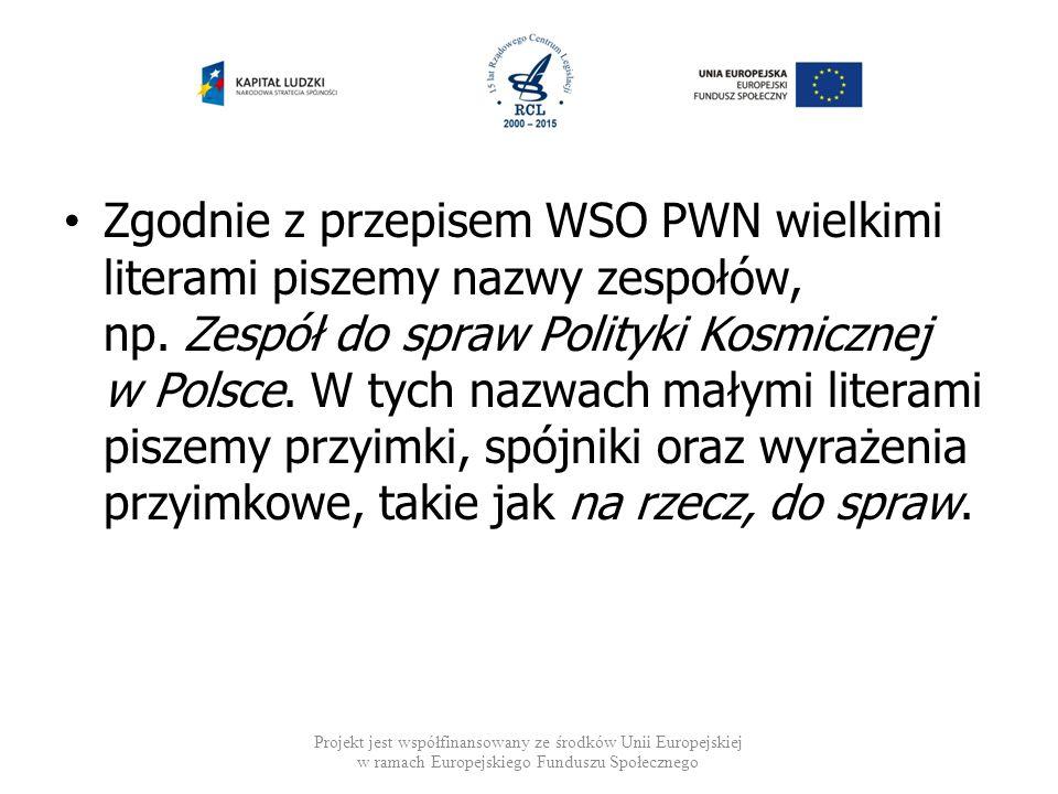 Zgodnie z przepisem WSO PWN wielkimi literami piszemy nazwy zespołów, np. Zespół do spraw Polityki Kosmicznej w Polsce. W tych nazwach małymi literami