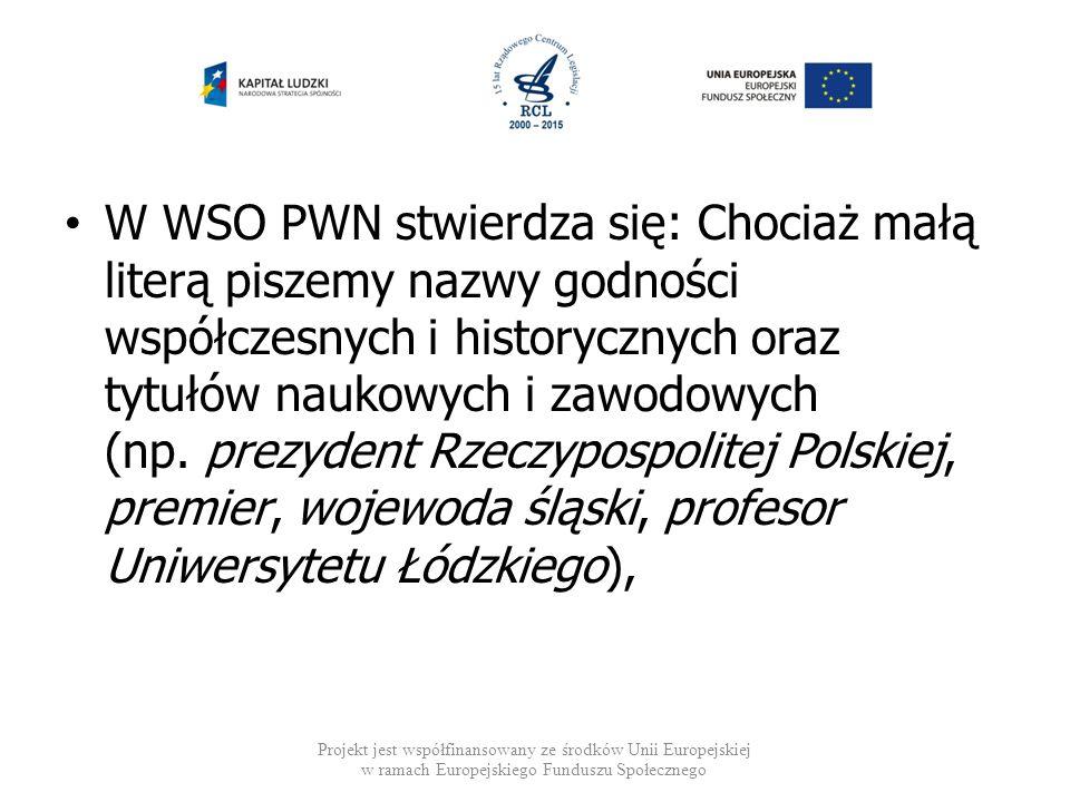 W WSO PWN stwierdza się: Chociaż małą literą piszemy nazwy godności współczesnych i historycznych oraz tytułów naukowych i zawodowych (np. prezydent R