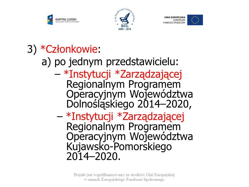 3) *Członkowie: a) po jednym przedstawicielu: – *Instytucji *Zarządzającej Regionalnym Programem Operacyjnym Województwa Dolnośląskiego 2014–2020, – *