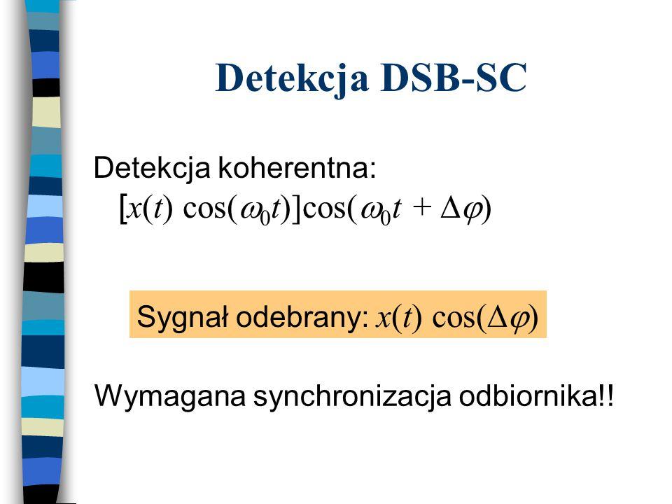 Detekcja DSB-SC Detekcja koherentna: [ x(t) cos(  0 t)]cos(  0 t +  ) Sygnał odebrany: x(t) cos(  ) Wymagana synchronizacja odbiornika!!