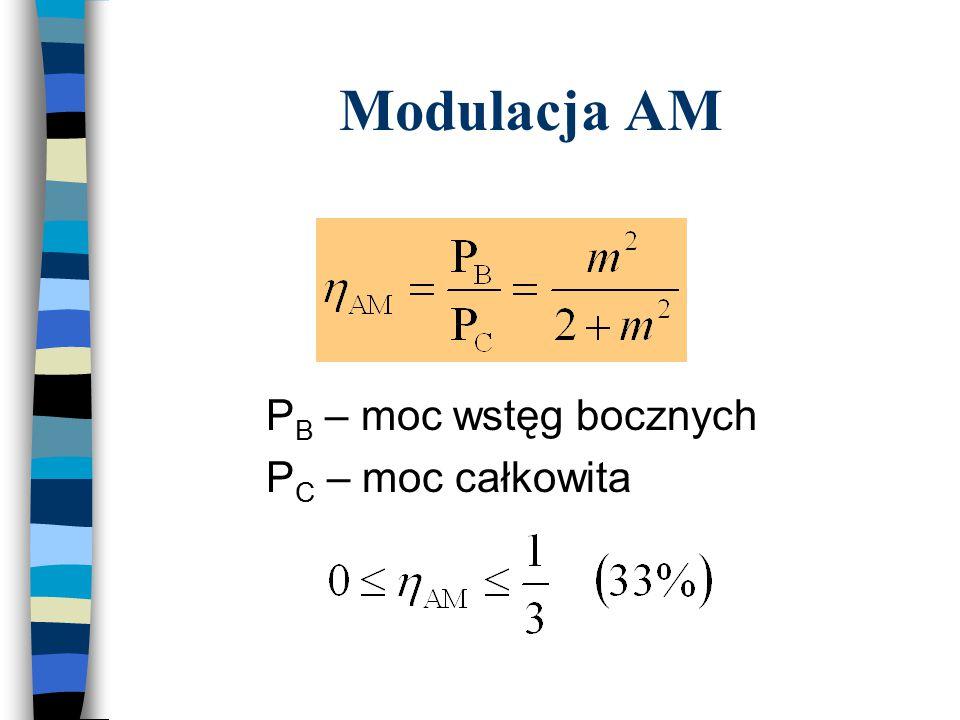 P B – moc wstęg bocznych P C – moc całkowita