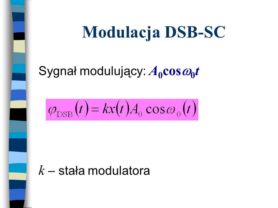 Modulacja tonowa: x(t) = acos  m t  AM =A 0 (1 + ka cos  m t) cos  0 t ka = m – współczynnik głębokości modulacji  AM =A 0 (1 + m cos  m t) cos  0 t