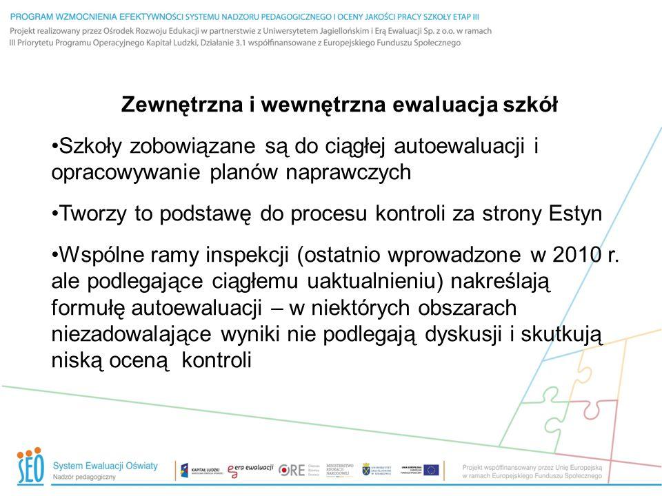 Zewnętrzna i wewnętrzna ewaluacja szkół Szkoły zobowiązane są do ciągłej autoewaluacji i opracowywanie planów naprawczych Tworzy to podstawę do procesu kontroli za strony Estyn Wspólne ramy inspekcji (ostatnio wprowadzone w 2010 r.