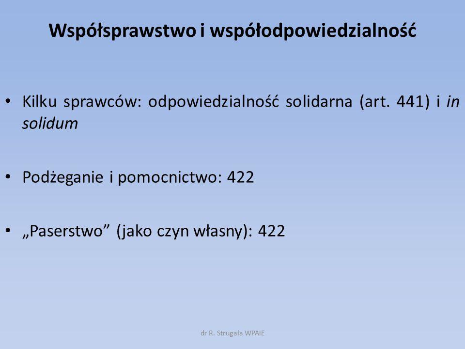 """Współsprawstwo i współodpowiedzialność Kilku sprawców: odpowiedzialność solidarna (art. 441) i in solidum Podżeganie i pomocnictwo: 422 """"Paserstwo"""" (j"""