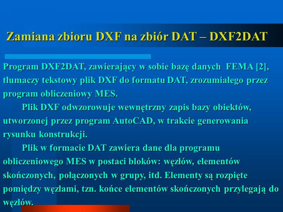 Zamiana zbioru DXF na zbiór DAT – DXF2DAT Zamiana zbioru DXF na zbiór DAT – DXF2DAT Program DXF2DAT, zawierający w sobie bazę danych FEMA [2], tłumaczy tekstowy plik DXF do formatu DAT, zrozumiałego przez program obliczeniowy MES.