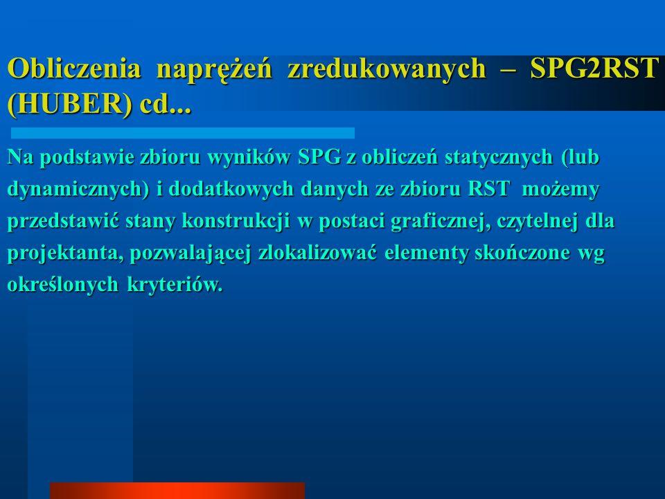 Obliczenia naprężeń zredukowanych – SPG2RST (HUBER) cd... Na podstawie zbioru wyników SPG z obliczeń statycznych (lub dynamicznych) i dodatkowych dany