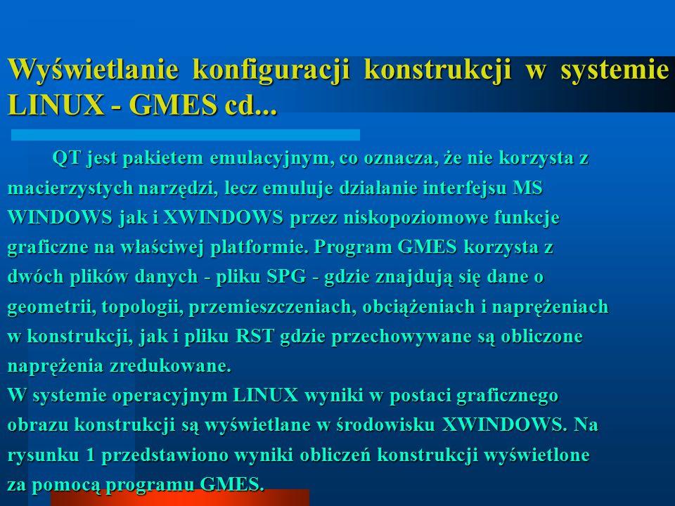 Wyświetlanie konfiguracji konstrukcji w systemie LINUX - GMES cd... QT jest pakietem emulacyjnym, co oznacza, że nie korzysta z macierzystych narzędzi