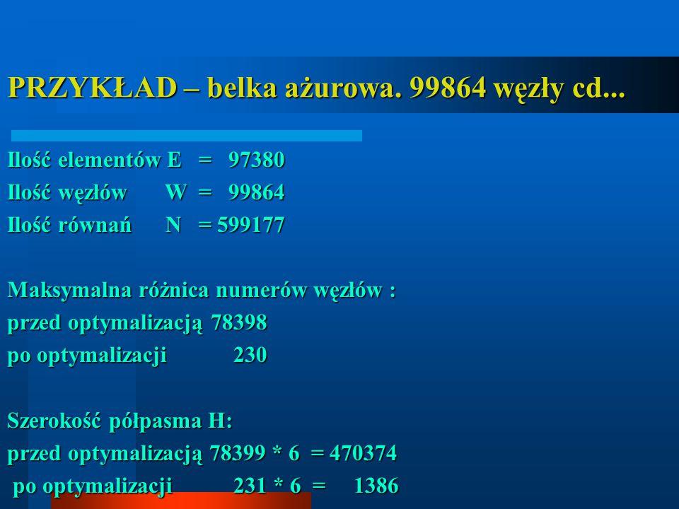 PRZYKŁAD – belka ażurowa. 99864 węzły cd... Ilość elementów E = 97380 Ilość węzłów W = 99864 Ilość równań N = 599177 Maksymalna różnica numerów węzłów