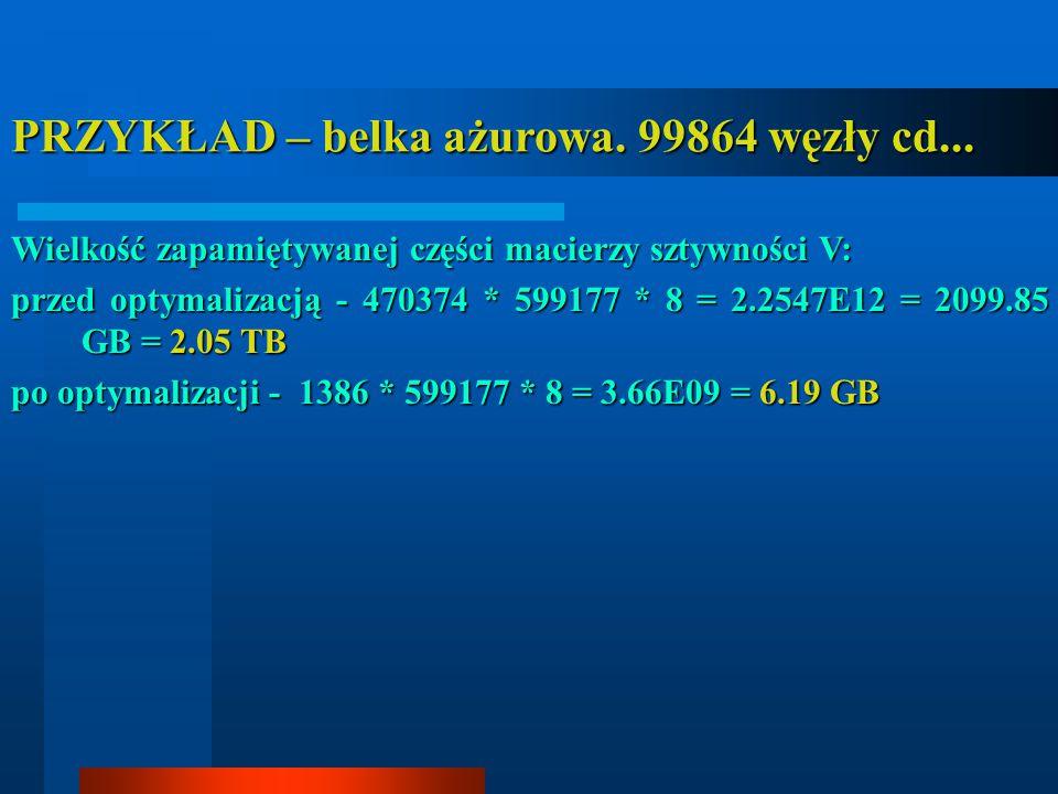 PRZYKŁAD – belka ażurowa. 99864 węzły cd... Wielkość zapamiętywanej części macierzy sztywności V: przed optymalizacją - 470374 * 599177 * 8 = 2.2547E1