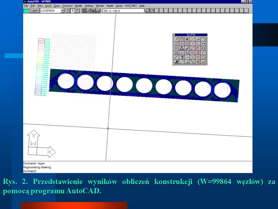 Rys. 2. Przedstawienie wyników obliczeń konstrukcji (W=99864 węzłów) za pomocą programu AutoCAD.