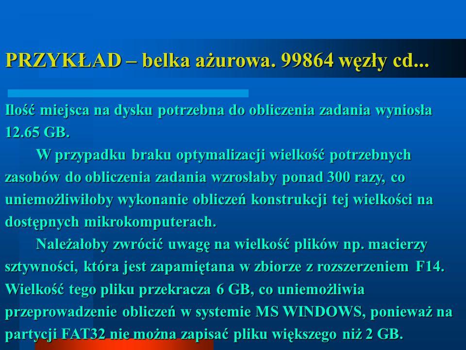 PRZYKŁAD – belka ażurowa. 99864 węzły cd...