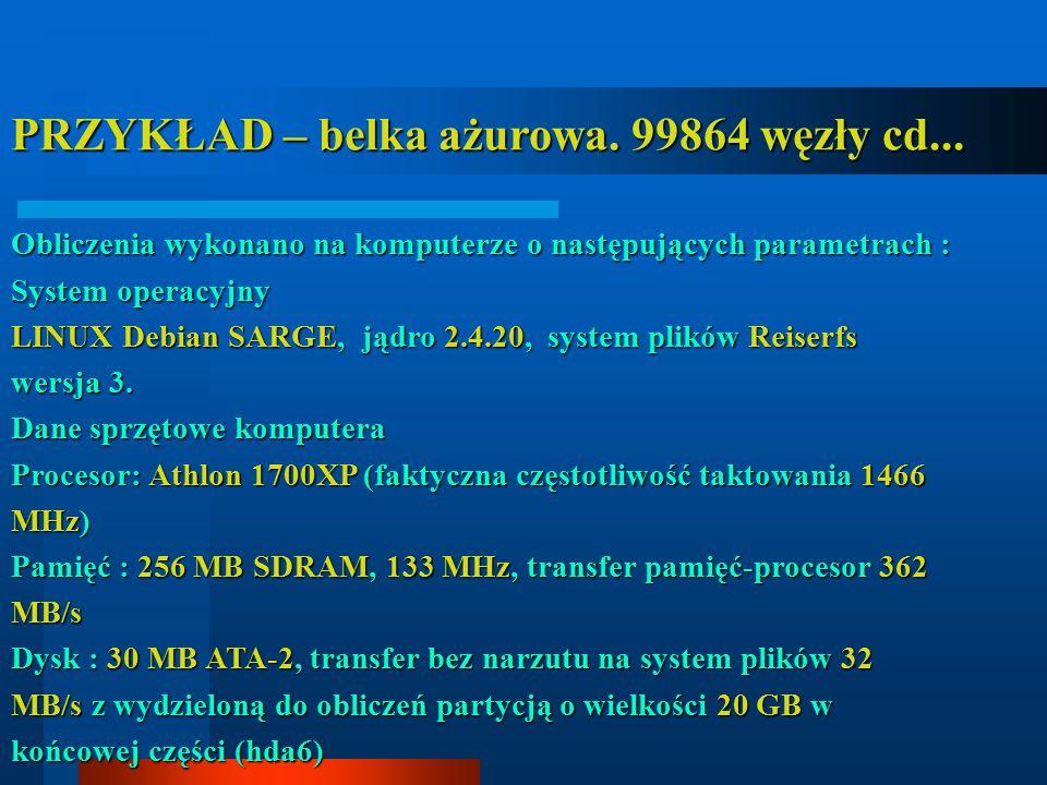 PRZYKŁAD – belka ażurowa. 99864 węzły cd... Obliczenia wykonano na komputerze o następujących parametrach : System operacyjny LINUX Debian SARGE, jądr