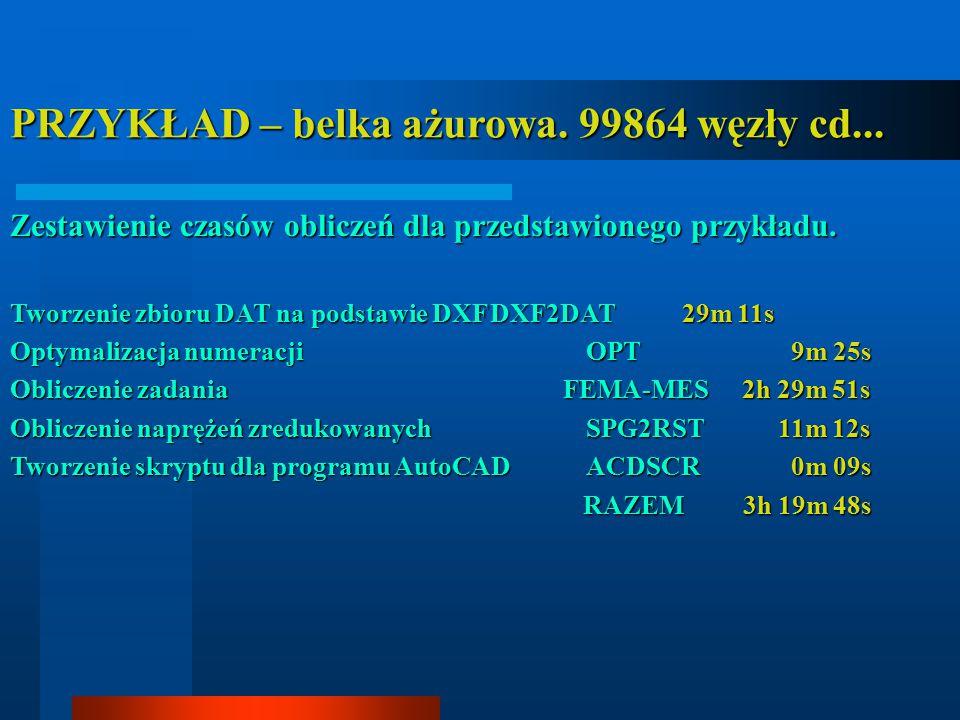 PRZYKŁAD – belka ażurowa. 99864 węzły cd... Zestawienie czasów obliczeń dla przedstawionego przykładu. Tworzenie zbioru DAT na podstawie DXFDXF2DAT29m