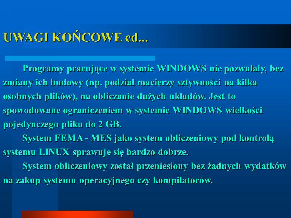 UWAGI KOŃCOWE cd... Programy pracujące w systemie WINDOWS nie pozwalały, bez zmiany ich budowy (np. podział macierzy sztywności na kilka osobnych plik