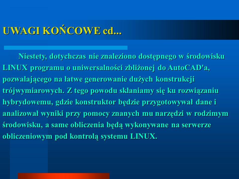 UWAGI KOŃCOWE cd... Niestety, dotychczas nie znaleziono dostępnego w środowisku LINUX programu o uniwersalności zbliżonej do AutoCAD'a, pozwalającego