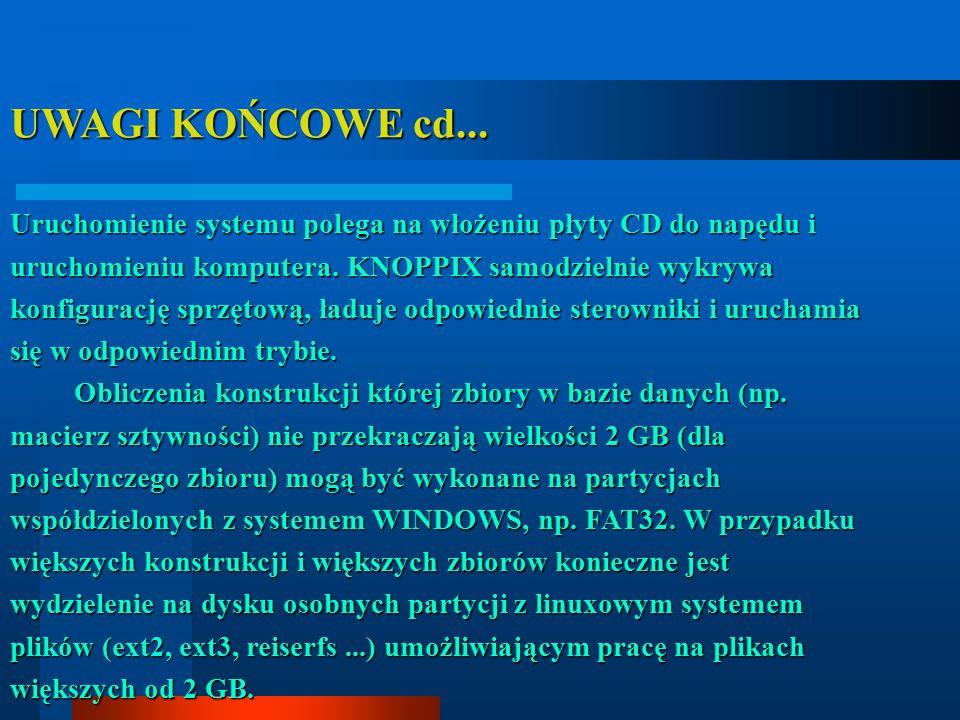 UWAGI KOŃCOWE cd... Uruchomienie systemu polega na włożeniu płyty CD do napędu i uruchomieniu komputera. KNOPPIX samodzielnie wykrywa konfigurację spr