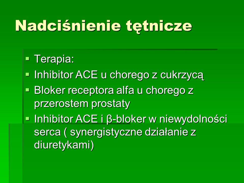 Nadciśnienie tętnicze  Terapia:  Inhibitor ACE u chorego z cukrzycą  Bloker receptora alfa u chorego z przerostem prostaty  Inhibitor ACE i β-blok