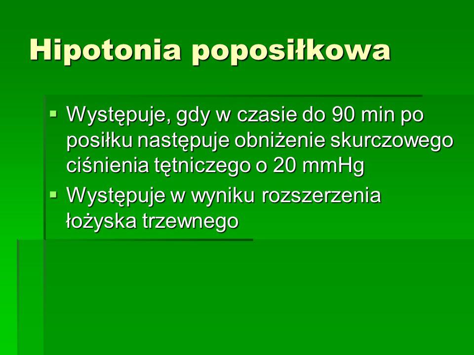 Hipotonia poposiłkowa  Występuje, gdy w czasie do 90 min po posiłku następuje obniżenie skurczowego ciśnienia tętniczego o 20 mmHg  Występuje w wyni