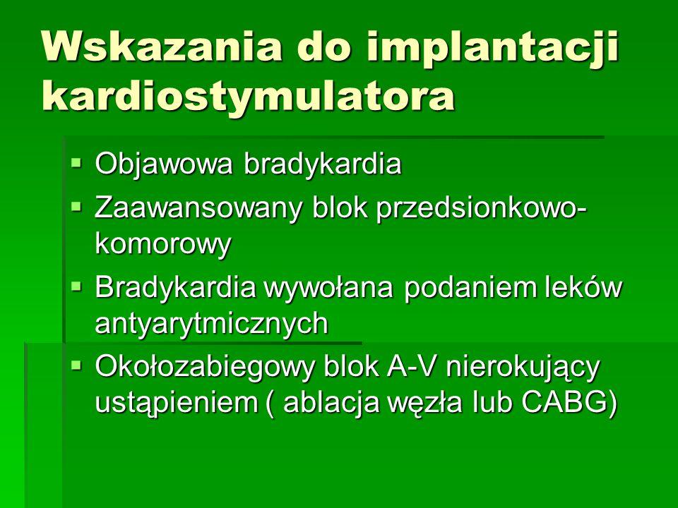 Wskazania do implantacji kardiostymulatora  Objawowa bradykardia  Zaawansowany blok przedsionkowo- komorowy  Bradykardia wywołana podaniem leków an