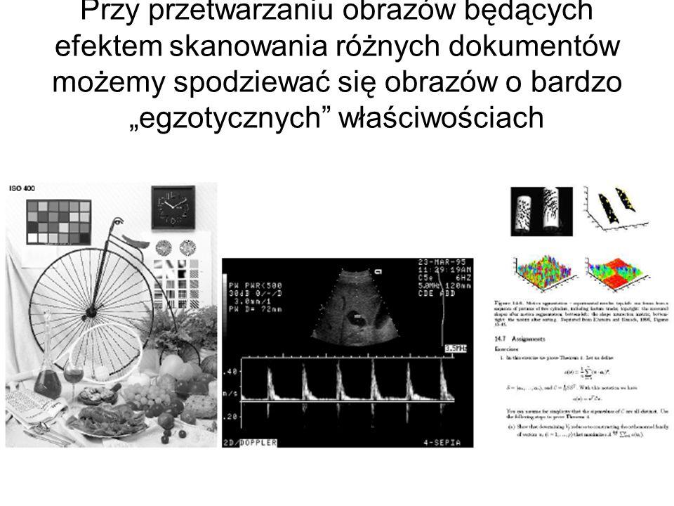 Całkiem odmienne charakterystyki miewają obrazy sztuczne, będące wynikiem działania algorytmów grafiki komputerowej