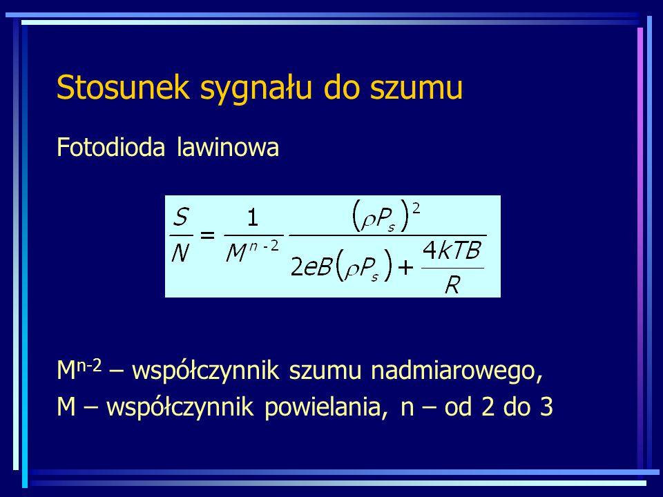 Stosunek sygnału do szumu Fotodioda lawinowa M n-2 – współczynnik szumu nadmiarowego, M – współczynnik powielania, n – od 2 do 3