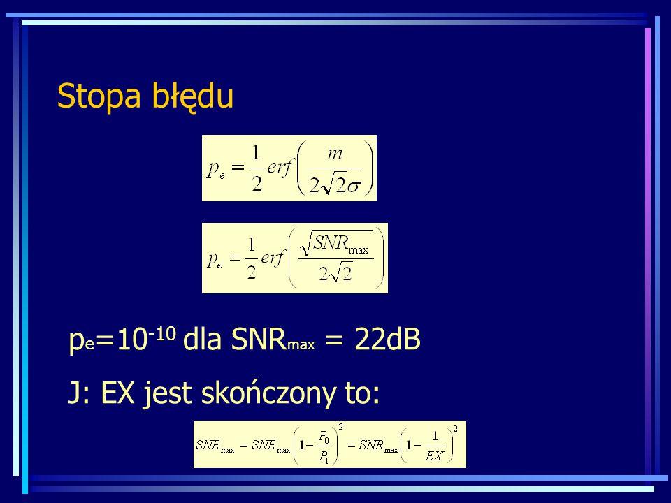 Stopa błędu p e =10 -10 dla SNR max = 22dB J: EX jest skończony to: