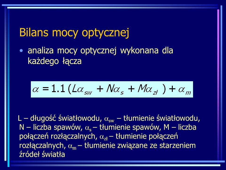Bilans mocy optycznej analiza mocy optycznej wykonana dla każdego łącza L – długość światłowodu,  sw – tłumienie światłowodu, N – liczba spawów,  s – tłumienie spawów, M – liczba połączeń rozłączalnych,  zł – tłumienie połączeń rozłączalnych,  m – tłumienie związane ze starzeniem źródeł światła