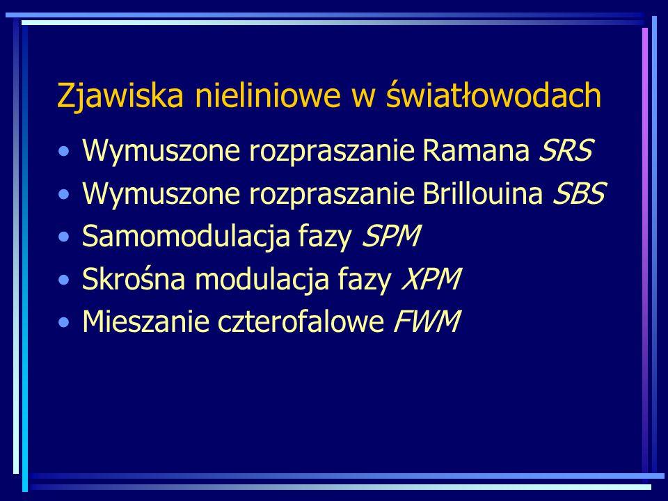 Zjawiska nieliniowe w światłowodach Wymuszone rozpraszanie Ramana SRS Wymuszone rozpraszanie Brillouina SBS Samomodulacja fazy SPM Skrośna modulacja fazy XPM Mieszanie czterofalowe FWM