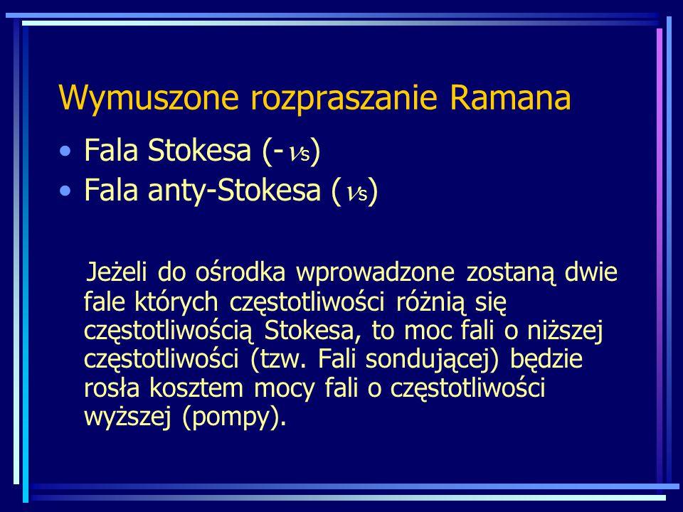 Wymuszone rozpraszanie Ramana Fala Stokesa (- s ) Fala anty-Stokesa ( s ) Jeżeli do ośrodka wprowadzone zostaną dwie fale których częstotliwości różnią się częstotliwością Stokesa, to moc fali o niższej częstotliwości (tzw.