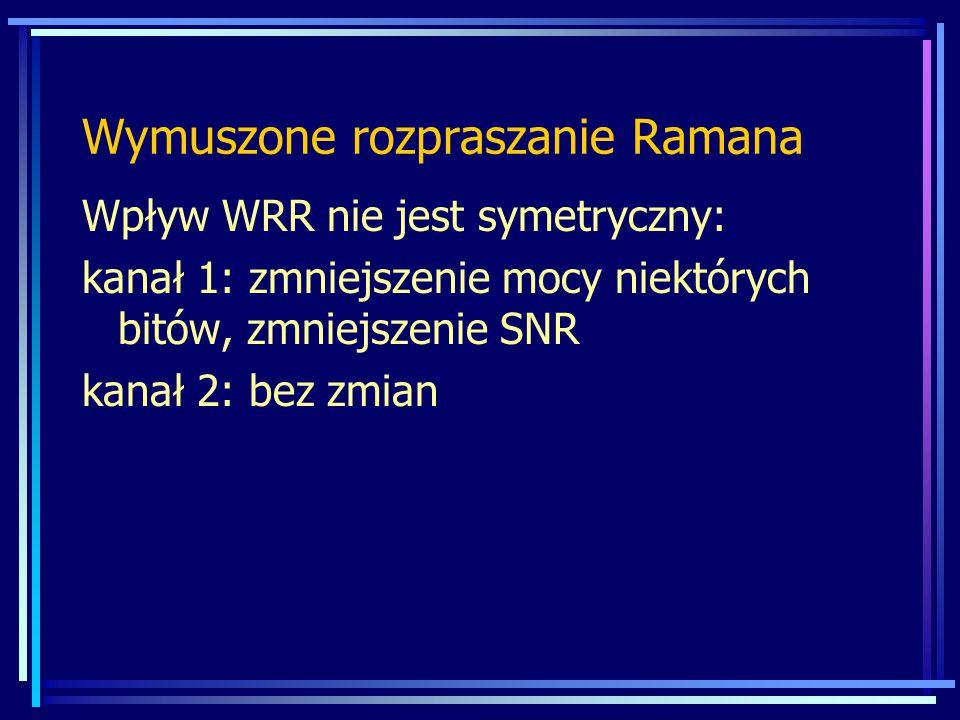 Wpływ WRR nie jest symetryczny: kanał 1: zmniejszenie mocy niektórych bitów, zmniejszenie SNR kanał 2: bez zmian Wymuszone rozpraszanie Ramana