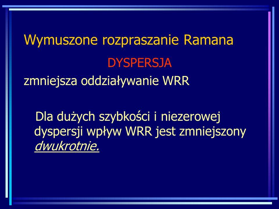 DYSPERSJA zmniejsza oddziaływanie WRR Dla dużych szybkości i niezerowej dyspersji wpływ WRR jest zmniejszony dwukrotnie.