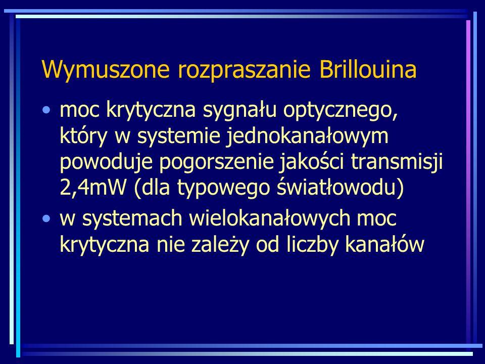 moc krytyczna sygnału optycznego, który w systemie jednokanałowym powoduje pogorszenie jakości transmisji 2,4mW (dla typowego światłowodu) w systemach wielokanałowych moc krytyczna nie zależy od liczby kanałów Wymuszone rozpraszanie Brillouina