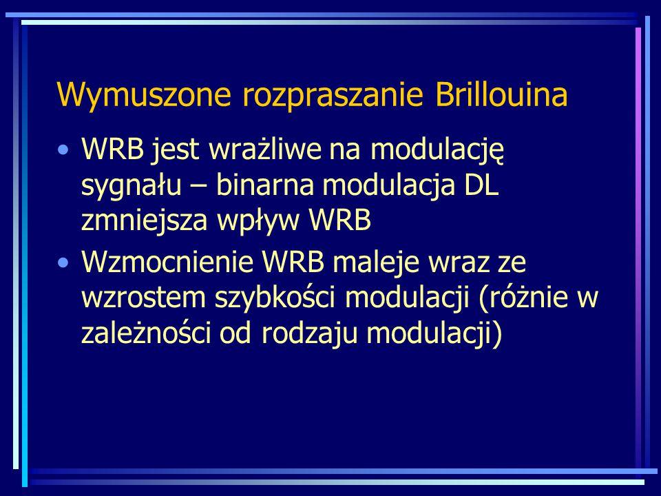 WRB jest wrażliwe na modulację sygnału – binarna modulacja DL zmniejsza wpływ WRB Wzmocnienie WRB maleje wraz ze wzrostem szybkości modulacji (różnie w zależności od rodzaju modulacji) Wymuszone rozpraszanie Brillouina