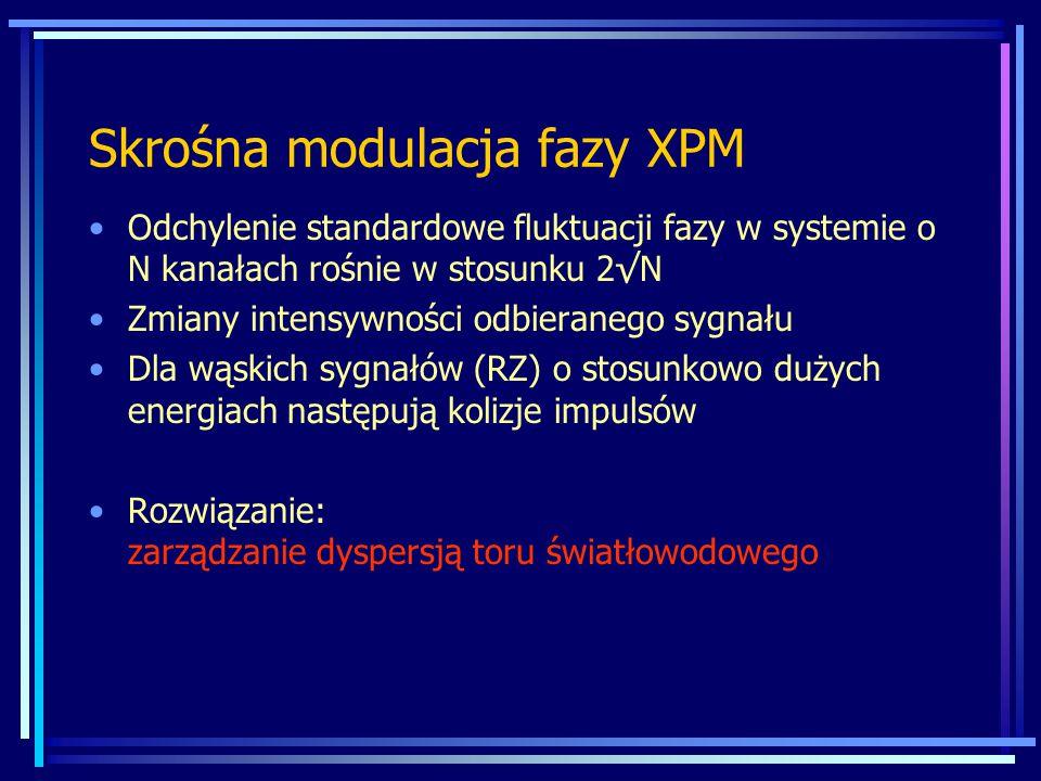 Skrośna modulacja fazy XPM Odchylenie standardowe fluktuacji fazy w systemie o N kanałach rośnie w stosunku 2√N Zmiany intensywności odbieranego sygnału Dla wąskich sygnałów (RZ) o stosunkowo dużych energiach następują kolizje impulsów Rozwiązanie: zarządzanie dyspersją toru światłowodowego