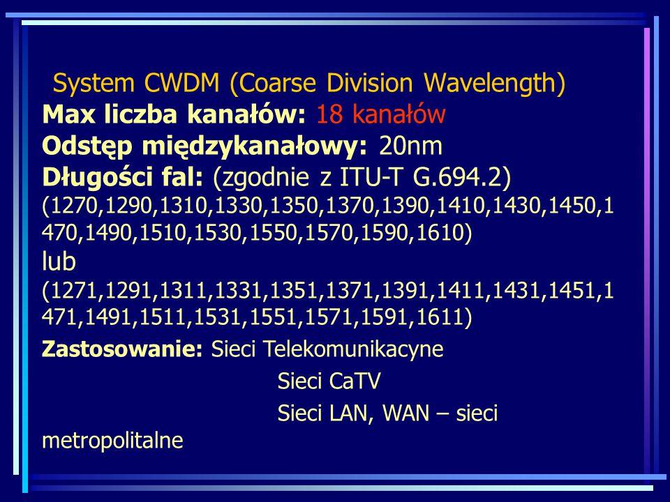 System CWDM (Coarse Division Wavelength) Max liczba kanałów: 18 kanałów Odstęp międzykanałowy: 20nm Długości fal: (zgodnie z ITU-T G.694.2) (1270,1290,1310,1330,1350,1370,1390,1410,1430,1450,1 470,1490,1510,1530,1550,1570,1590,1610) lub (1271,1291,1311,1331,1351,1371,1391,1411,1431,1451,1 471,1491,1511,1531,1551,1571,1591,1611) Zastosowanie: Sieci Telekomunikacyne Sieci CaTV Sieci LAN, WAN – sieci metropolitalne