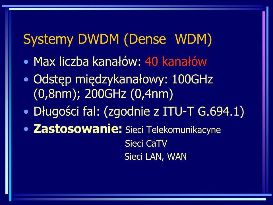 Systemy DWDM (Dense WDM) Max liczba kanałów: 40 kanałów Odstęp międzykanałowy: 100GHz (0,8nm); 200GHz (0,4nm) Długości fal: (zgodnie z ITU-T G.694.1) Zastosowanie: Sieci Telekomunikacyne Sieci CaTV Sieci LAN, WAN