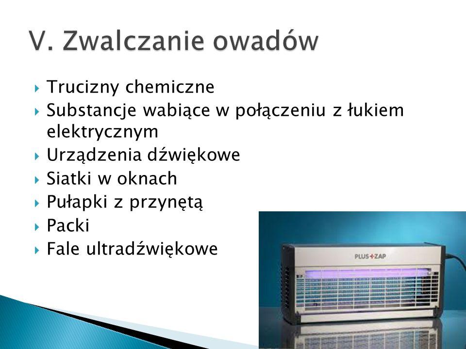  Trucizny chemiczne  Substancje wabiące w połączeniu z łukiem elektrycznym  Urządzenia dźwiękowe  Siatki w oknach  Pułapki z przynętą  Packi  F