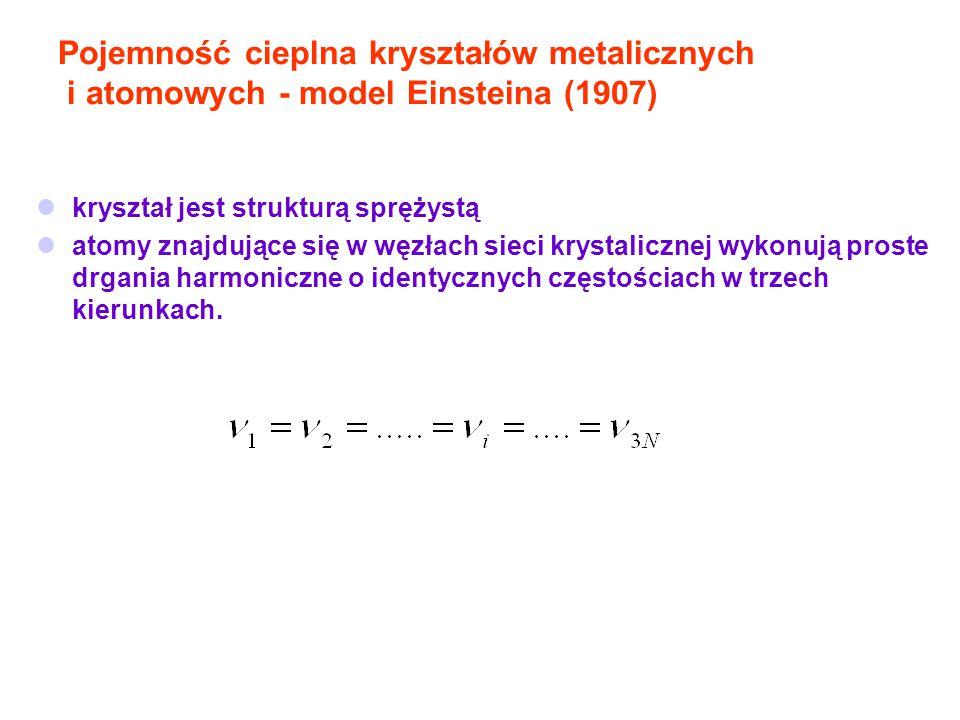 Pojemność cieplna kryształów metalicznych i atomowych - model Einsteina (1907) kryształ jest strukturą sprężystą atomy znajdujące się w węzłach sieci