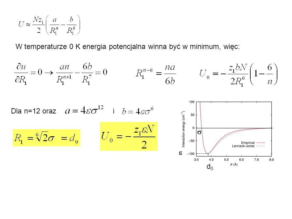 Pojemność cieplna kryształów metalicznych i atomowych - model Debye'a (1912) liczba drgań o częstościach z przedziału (, +d ) funkcja rozkładu częstości (funkcja spektralna, gęstość spektralna) warunek unormowania Model Debye'a rozpatruje ciało stałe jako izotropowy ośrodek sprężysty, w którm mogą rozchodzić się fale o długości fali większej od podwójnej odległości między atomami sieci krystalicznej.