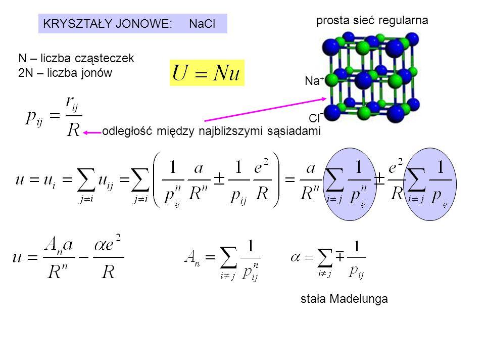 Dla NaCl: Niech R 0 będzie odległością pomiędzy najbliższymi sąsiadami w temperaturze 0 K.